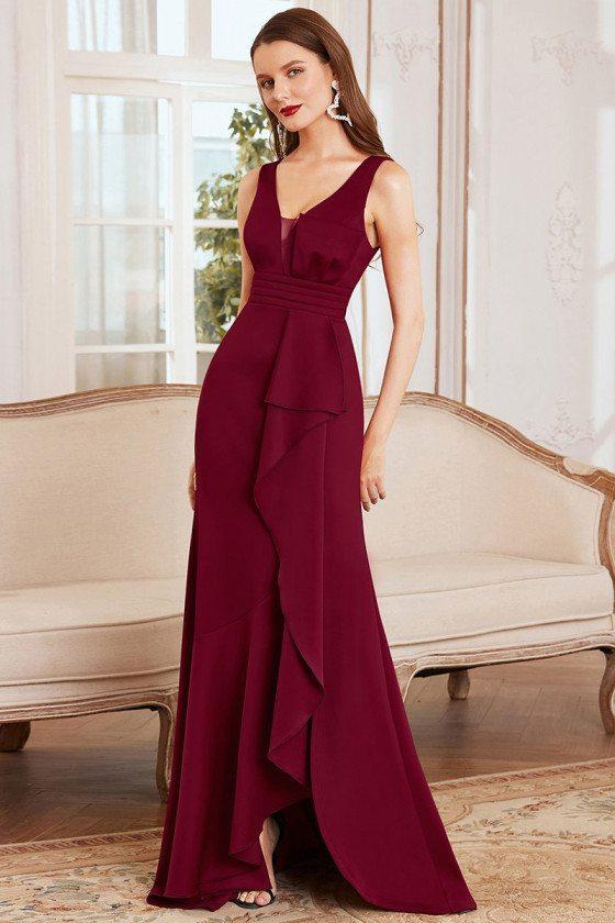 Elegant Maxi Mermaid Sleeveless Burgundy Evening Dress for Less - EE00140BD