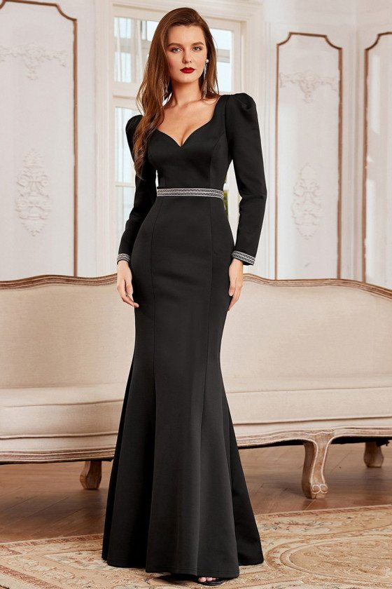 Queen-Style Fishtail Black Evening Dress with Long Sleeve