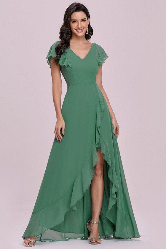Sweet Green Chiffon Bridesmaid Dress with Ruffles