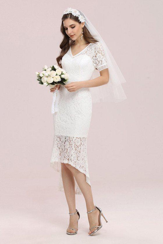 Simple Vneck Tea Length Lace Wedding Party Dress