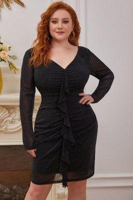 Stylish Long Sleeve Plus Size VNeck Bodycon Cocktail Dress - EC03137BK