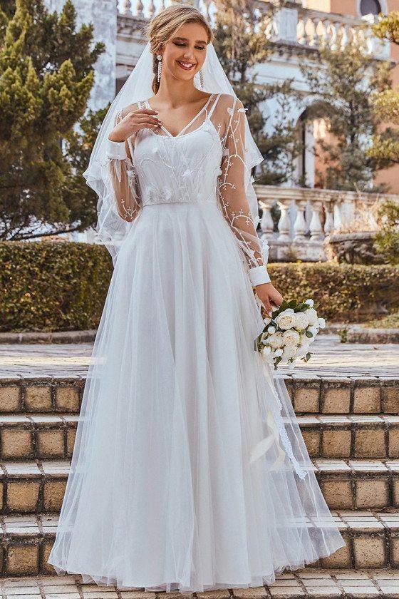 Elegant Aline Tulle Wedding Dress with Lace Decoration Long Sleeves