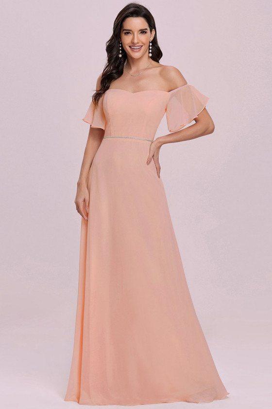 Pink Sweetheart Neckline Long Chiffon Bridesmaid Dress Off Shoulder