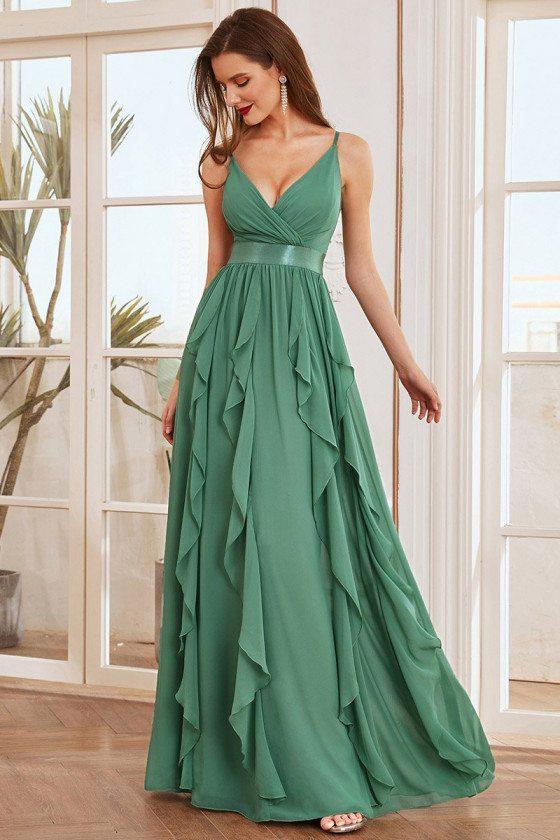 Green Deep V-neck with Spaghetti Straps Chiffon Bridesmaid Dress