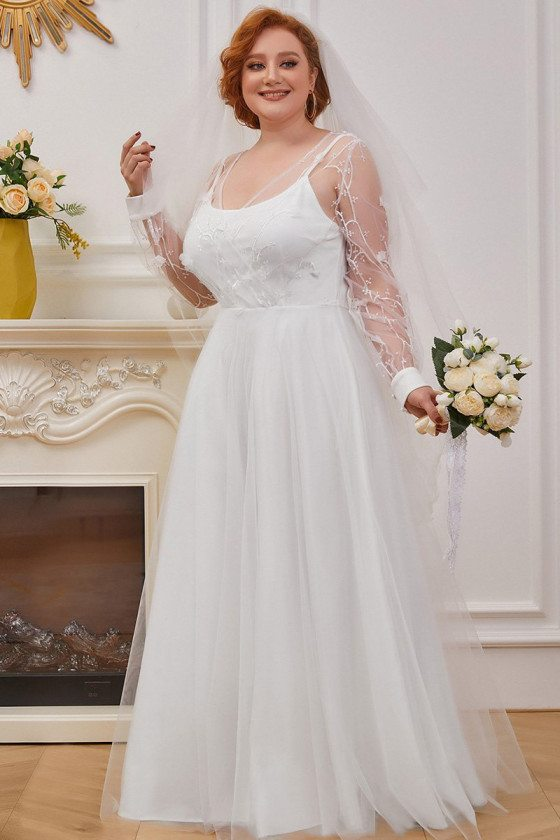 Plus Size Simple Tulle Wedding Dress with Long Sheer Sleeves