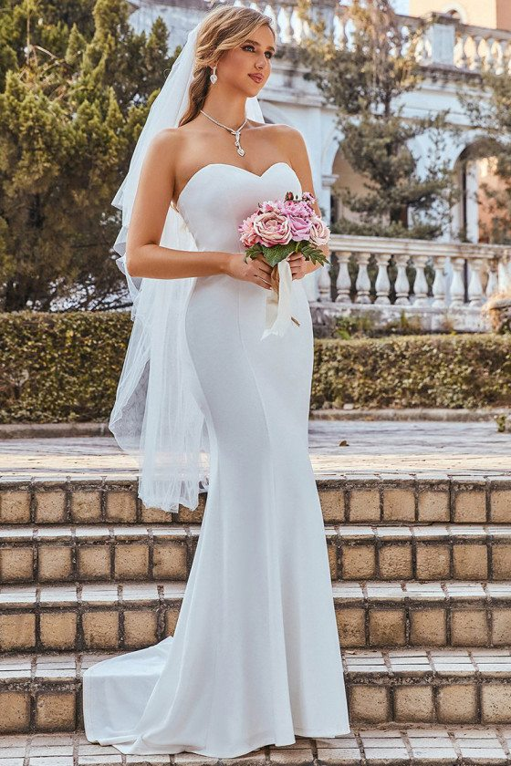 Simple Off Shoulder Sweetheart Fitted Mermaid Dress for Wedding