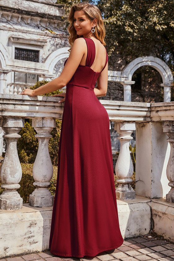 Burgundy Sweetheart Pleated Bodice Long Bridesmaid Dress