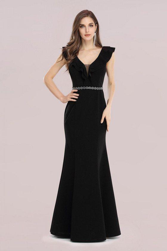 Black Fishtail Cheap Evening Dress with Hot Drill Belt