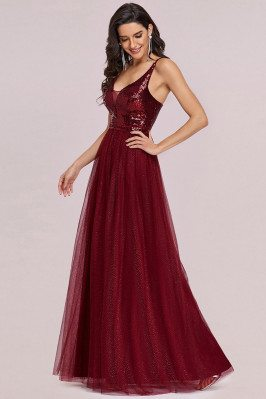 Burgundy Sequins Tulle Prom...
