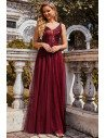 Burgundy Sequins Tulle Prom Dress Vneck with Sequin Bodice - EP00210BD