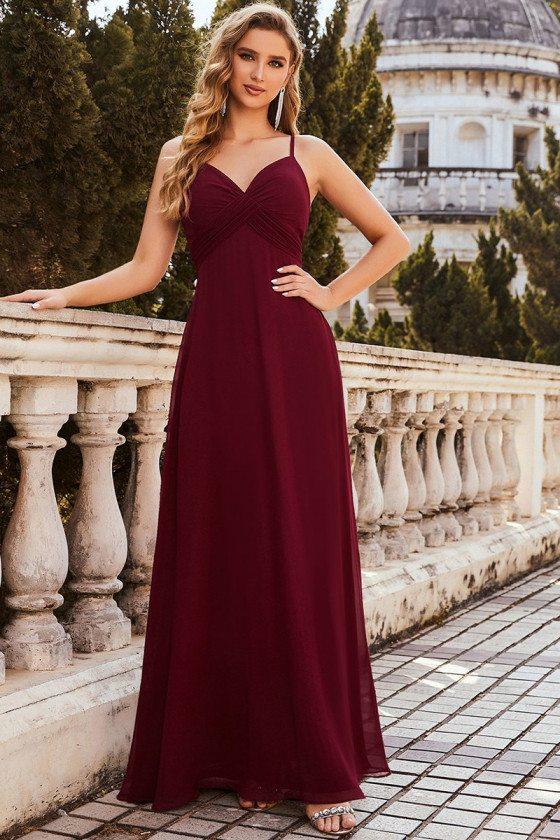 Simple Ruched Bust High Waist Burgundy Evening Dress