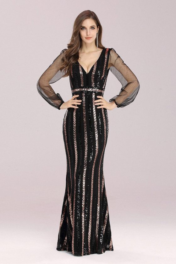 Shiny Sequin Mermaid Black Evening Dress with See-through Sleeves