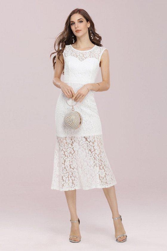 Gorgeous Round Neck Sheath Lace Party Dress Tea Length - EP00371CR