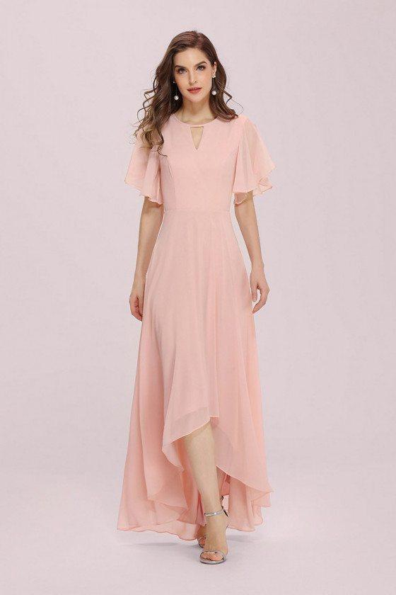 Pink Chiffon Summer Hilo Bridesmaid Dress Puffy Sleeves with Asymmetrical Hem