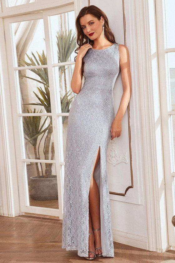 Split Sheath Grey Lace Evening Dresses for Women - EM00281GY