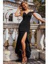 Black Off Shoulder High-Low Party Dress with Slit - EP00220BK
