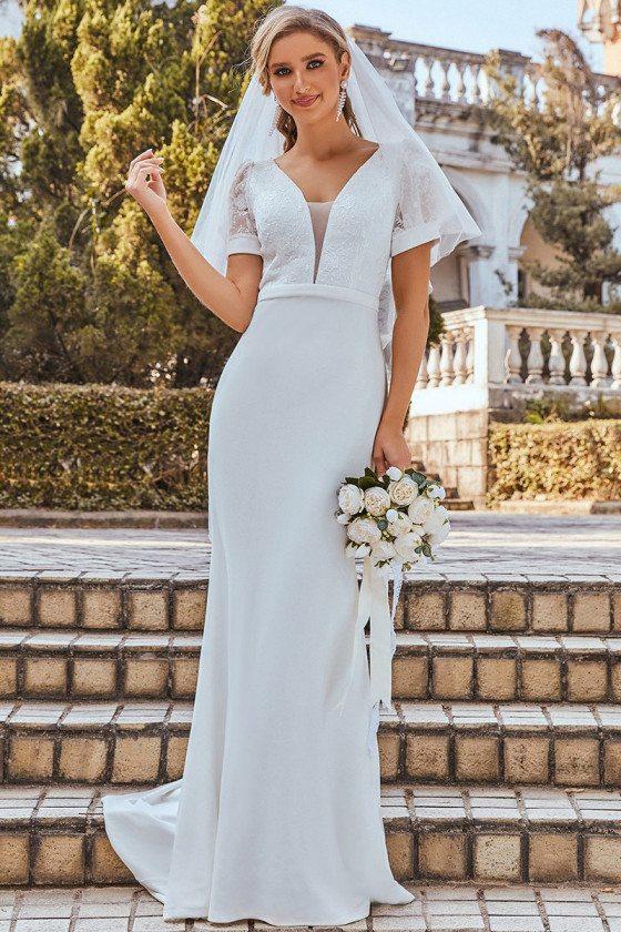 Plunge Neck Lace Bodice Maxi Fishtail Wedding Dress with Sleeves