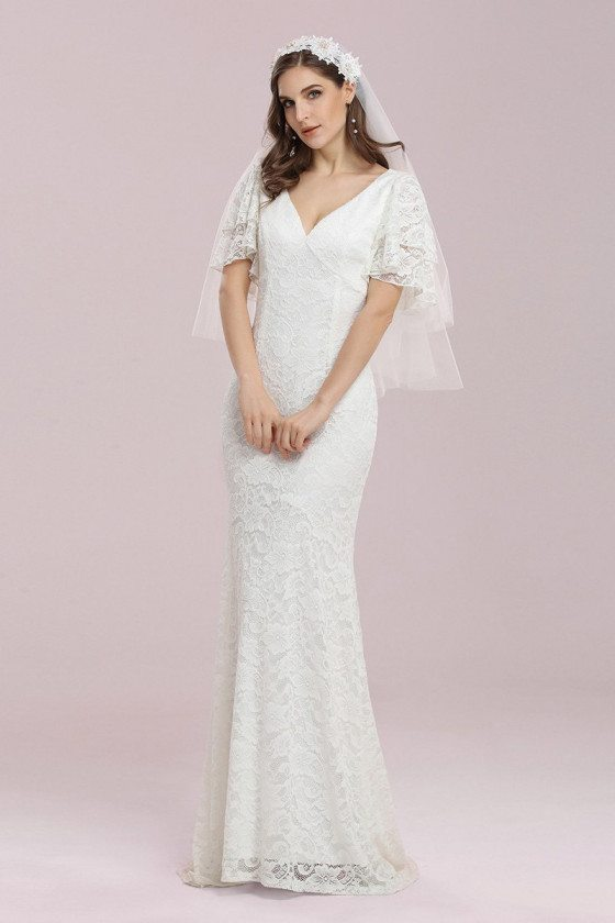 Romantic Vneck Lace Mermaid Wedding Dress with Flutter Sleeves