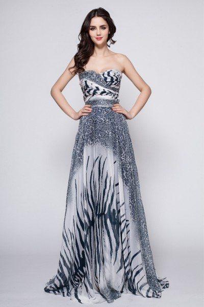 Animal Print Sweetheart Long Prom Dress