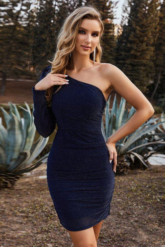 Navy Blue Asymmetric Shoulder Bodycon Cocktail Dress for Women