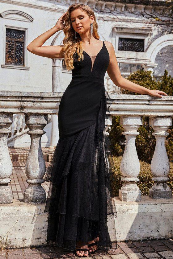 Simple Mermaid Black Evening Dress with Tulle Ruffled Hem