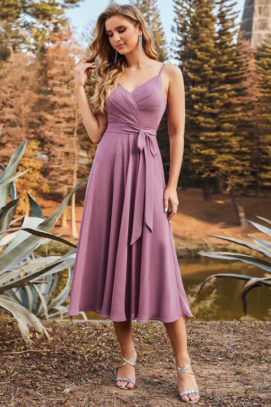 Casual V Neck Chiffon Bridesmaid Dress Tea Length for Summer Weddings