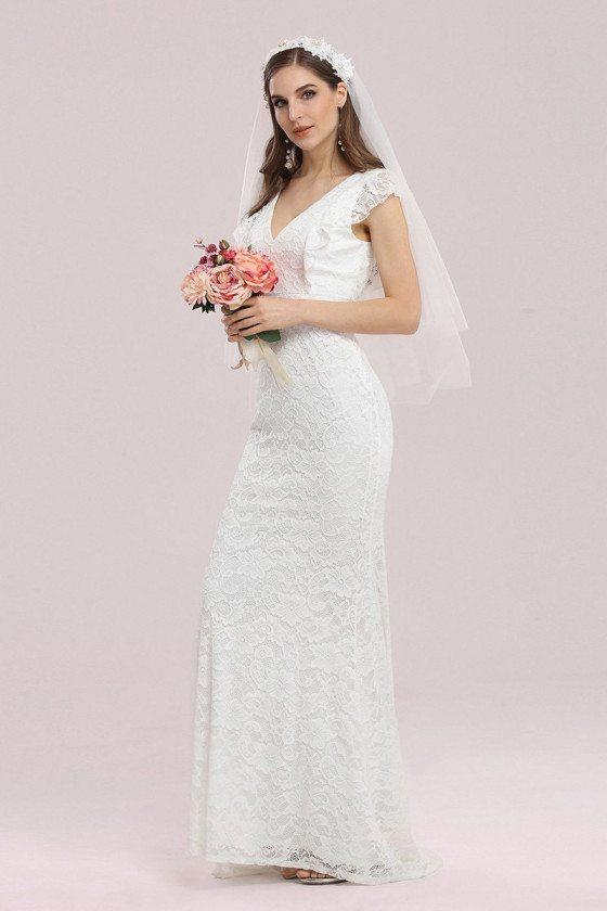 Elegant Maxi Fishtail Lace Wedding Dress with Cap Sleeves