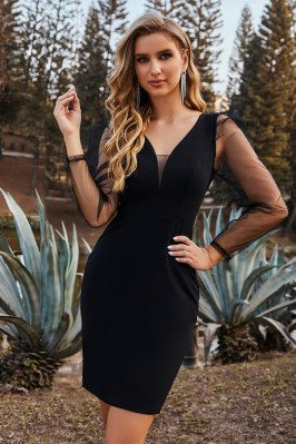 Little Black See-through Cocktail Dress with Sheer Sleeves - EC03132BK