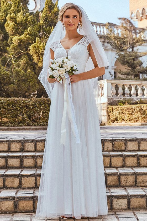 Cap Sleeve Lace Vneck Long A-line Wedding Dress for Summer Weddings