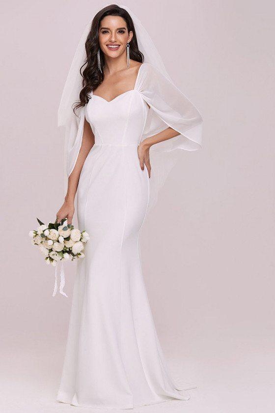 Swag-sleeves V Neck Slim Maxi Fishtail Wedding Dress