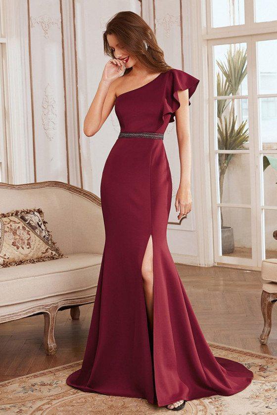 Elegant Maxi One Shoulder Burgundy Evening Dress with Side Split - EE00104BD