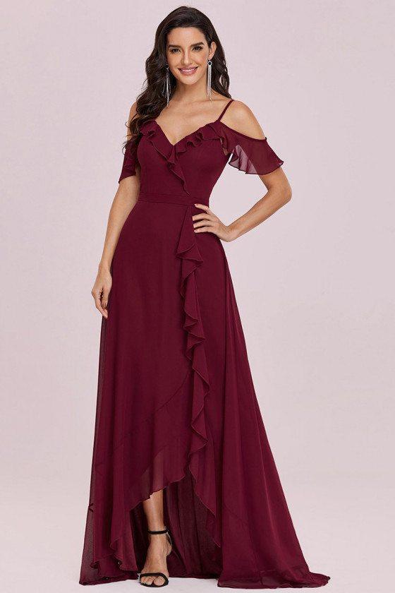 Burgundy Ruffled Cold Shoulder Vneck Chiffon Bridesmaid Dress