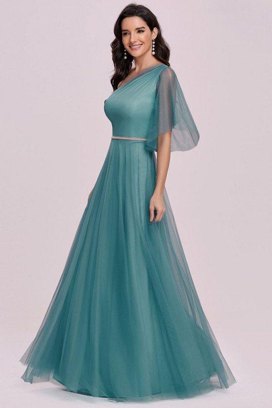 Dusty Blue Maxi One Shoulder Tulle Bridesmaid Dress Elegant