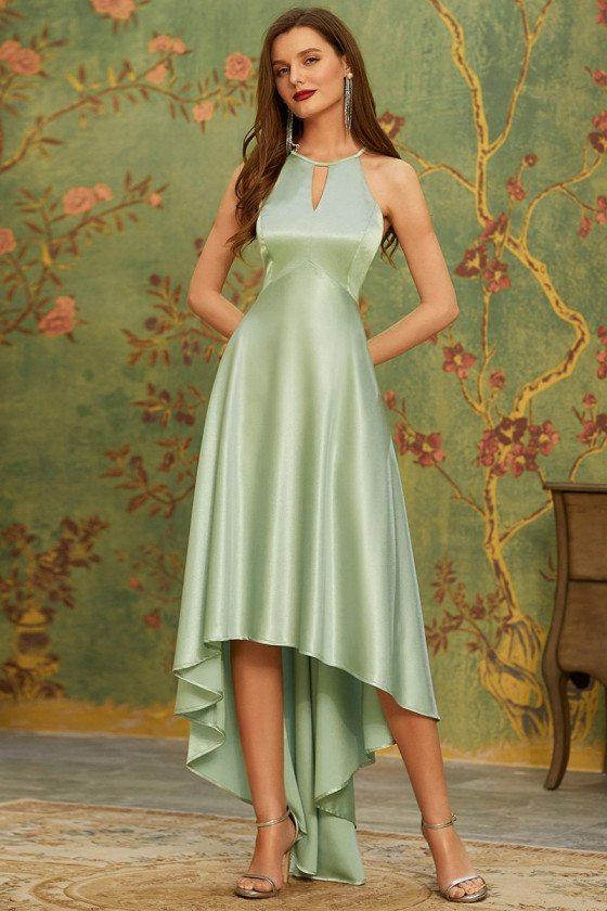 Mint Green Halter Open Back High Low Bridesmaid Dress for Summer Weddings