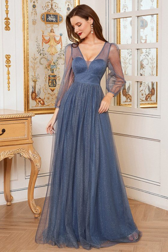 Romantic Dusty Blue Vneck A-Line Tulle Evening Dress with Bling - EE00292DN