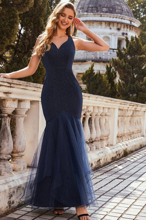 Navy Blue Glitter Fishtail V Neck Cheap Evening Dress with Tulle - EE00265NB