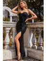 Black Sequins Party Evening Dress with Ruffles - EE00286BK