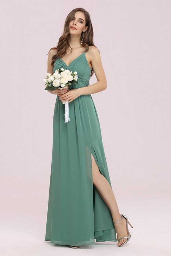 Green Summer Chiffon Maxi Bridesmaid Dress with Side Split