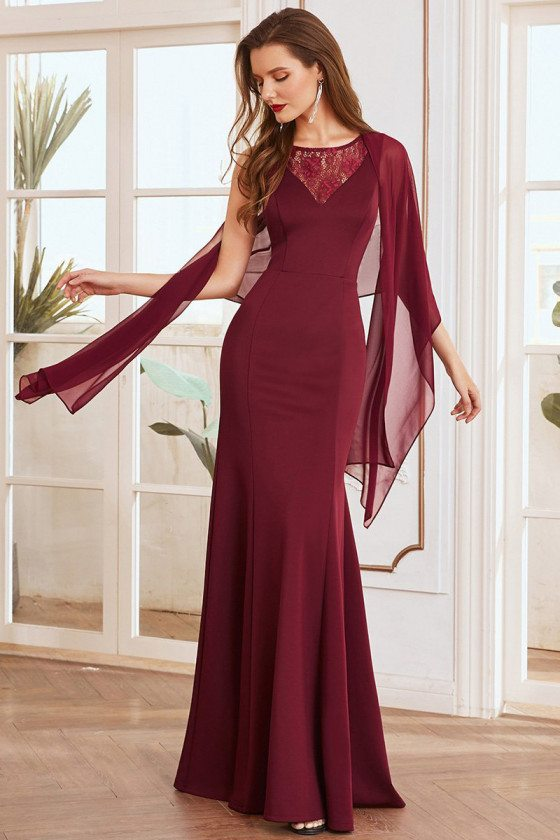 Burgundy Formal Mermaid Evening Dress with Chiffon Wrap