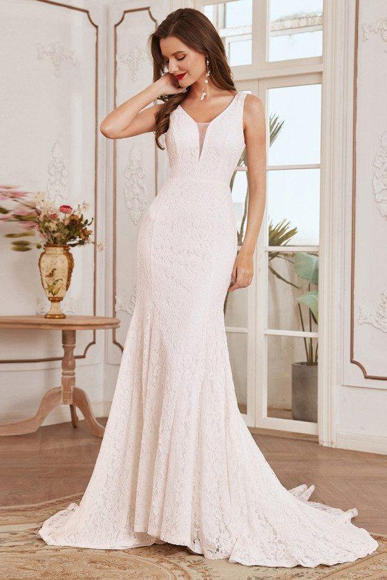 Elegant Lace Sleeveless Fishtail Country Wedding Dress - EH00165CR