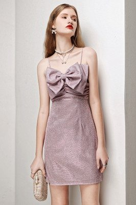Light Purple Sheath Party Dress Bling Straps with Cute Bow - HTX96013