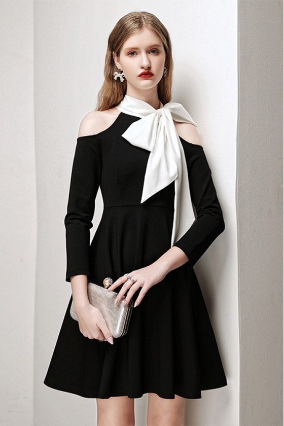 Retro Chic Black Party Dress with White Bow Knot Cold Shoulder Sleeves - HTX96015
