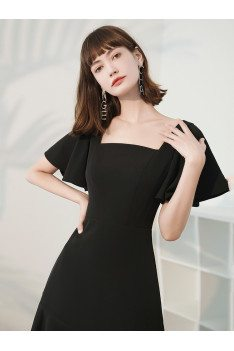 Simple Square Neckline Short Black Party Dress Fishtail with Ruffles - HTX96038