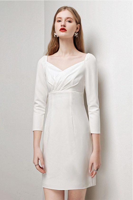 Elegant White Sheath Cocktail Dress Jeweled Back with 3/4 Sleeves - HTX96016