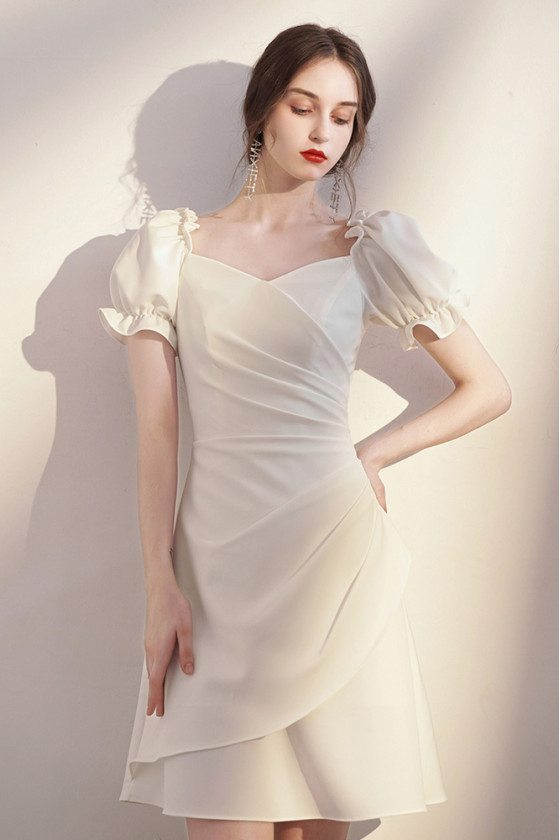 Lovely Short White Homecoming Party Dress Pleated with Bubble Sleeves - HTX96042