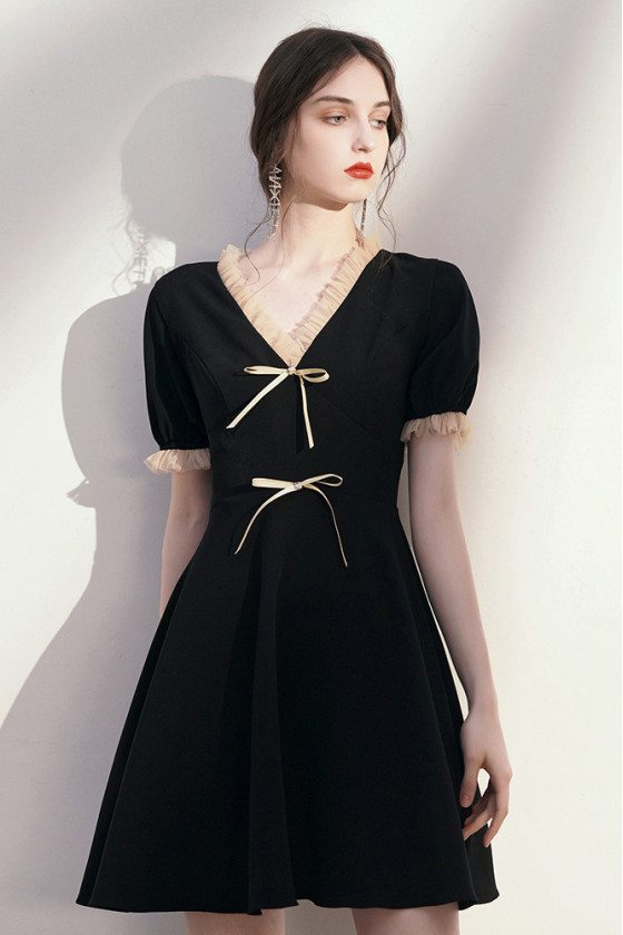 Romantic Vneck Bow Knot Little Black Hoco Dress with Sleeves - HTX96046