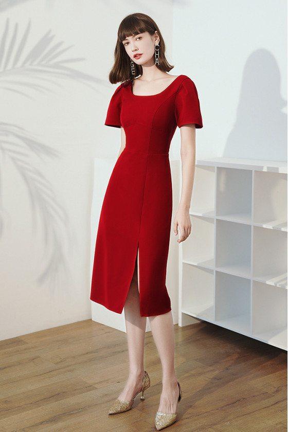 Burgundy Short Sleeved Sheath Party Dress with Side Split - HTX96036