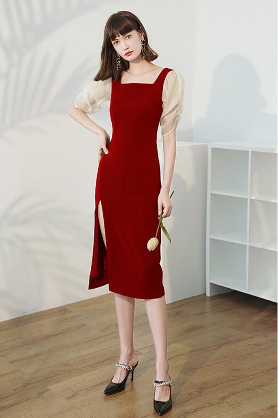 Pretty Square Neckline Burgundy Sheath Party Dress with Sleeves - HTX96032