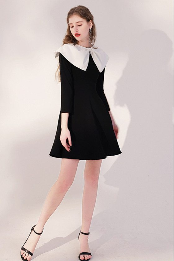 Cute Little Black Flare Party Dress with Baby Collar Sleeves - HTX96026