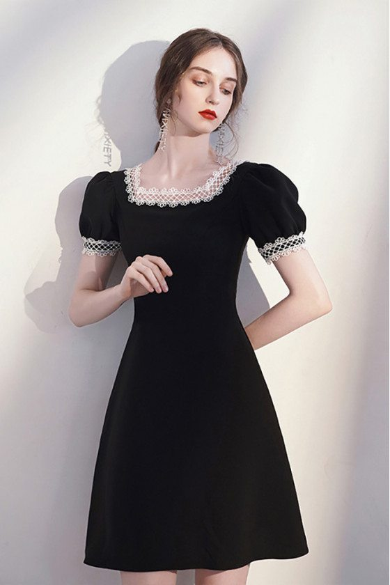 Retro Lace Square Neckline Little Black Dress Aline with Bubble Sleeves - HTX96051